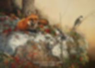 Trio of Grey Jays – Red Fox and Grey Jays, oil on canvas – All rights reserved © Monique Benoit