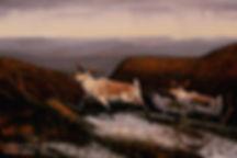 En route vers les sommets – Caribous des Chic-Chocs, huile sur toile – Tous droits réservés © Gisèle Benoit