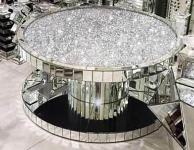 Diamond Crushed Round Circular Mirrored Coffee Table 90cm X Sparkle Glitz Diamonds King
