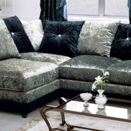 Dhillon Corner Silver/Black Sofa