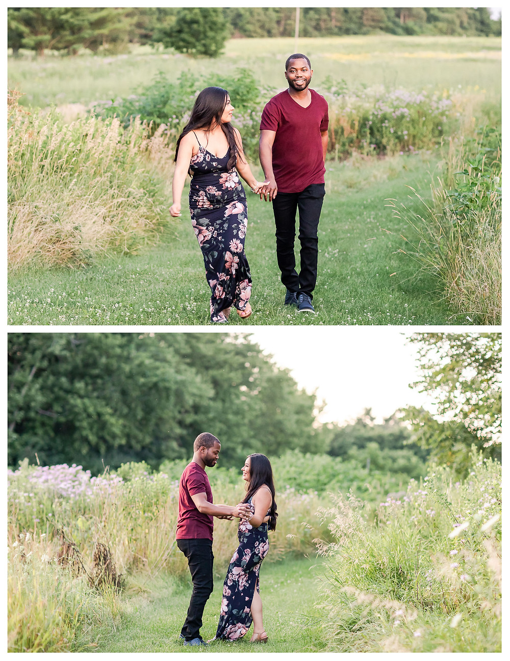 ENGAGEMENT SESSION LEROY OAKES FOREST PRESERVE ST CHARLES IL ENGAGED ENGAGEMENT RING RED BARN WILD FLOWERS BIKE TRAILS NATURE PHARMACY SCHOOL