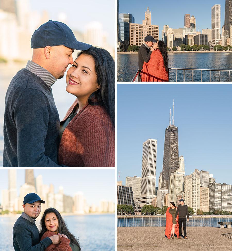 chicago skyline engagement photos engagement photographer wedding photographer chiago windy city olive park beach engagement session