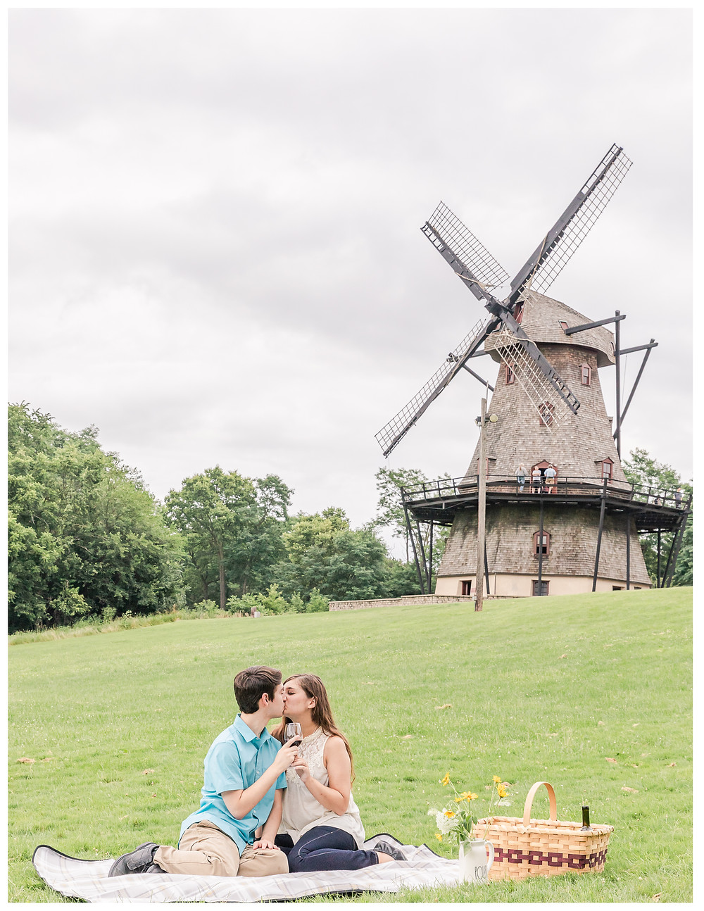 a picnic engagement session at fabyan forest preserve wind mill japanesse garde fabryan windmill fox river bridge wine red wine wineglasses