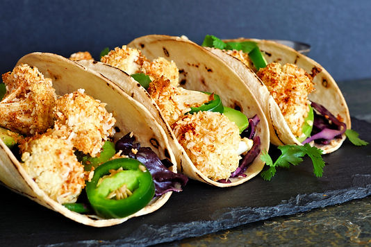 Roasted coconut cauliflower tacos. Healthy, vegan meal.