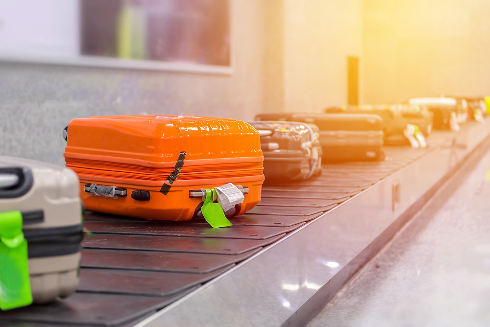 Luggage on conveyer belt