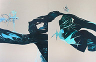 (Sold) Un - knowing, diptych,130 x 200 cm, oil on canvas, 2019