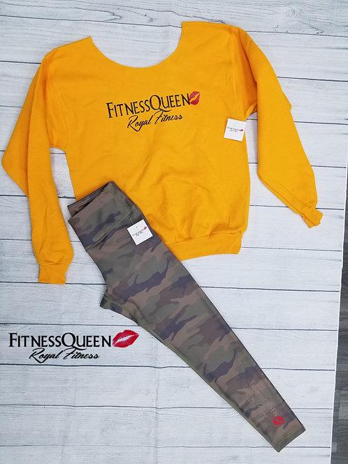 Yellow FitnessQueen Off the Shoulder Sweatshirt