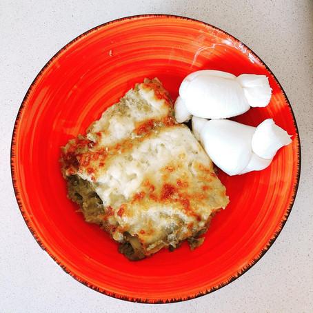 Lasagna vegetariana con mozzarella pugliese