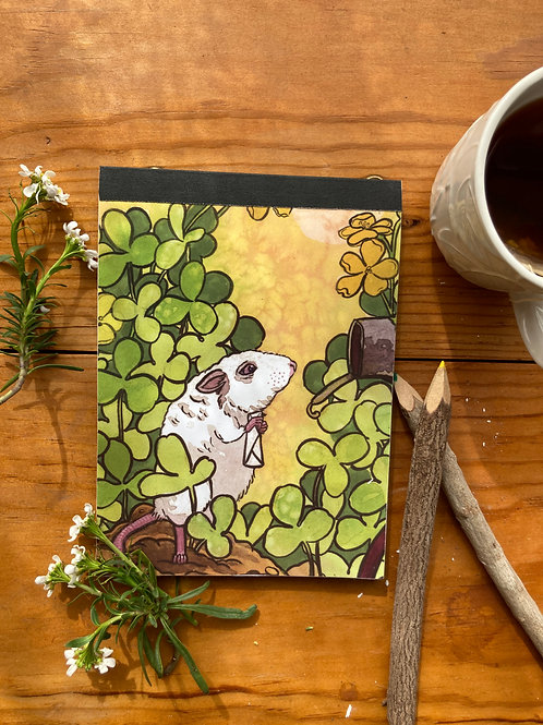 NOTEPAD - Mouse Mail  - 5 x 7, with  28 custom & repurposed tear-away pages