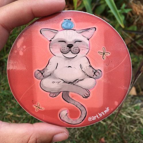 """VINYL STICKER - 3.5"""" - Meditation Kitty"""