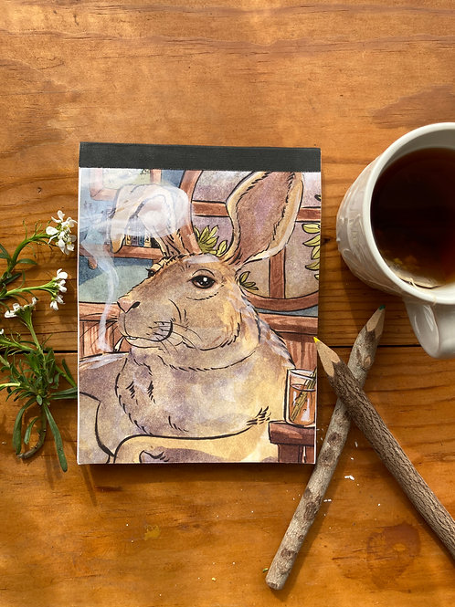 NOTEPAD - The Hare - 5 x 7, with  24 custom & repurposed tear-away pages