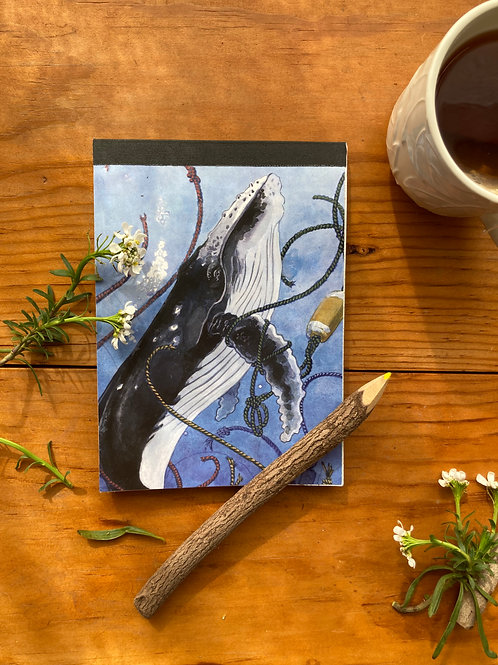 NOTEPAD - Whale - 5 x 7, with  28 custom & repurposed tear-away pages