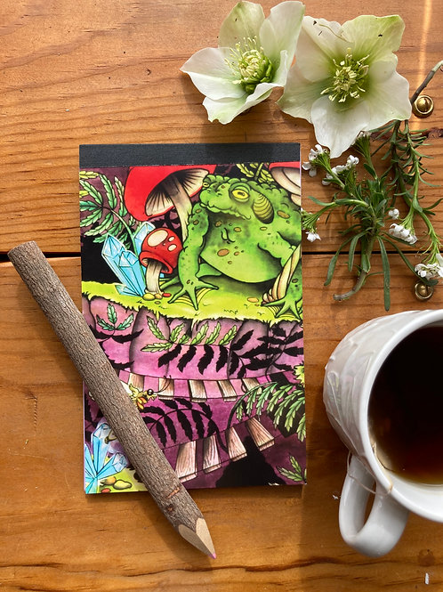 NOTEPAD - Magic Toad- 4.5 x 7 with repurposed lavender cardstock inside