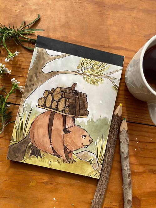 NOTEPAD - Beaver - 5 x 7, with  24 custom & repurposed tear-away pages