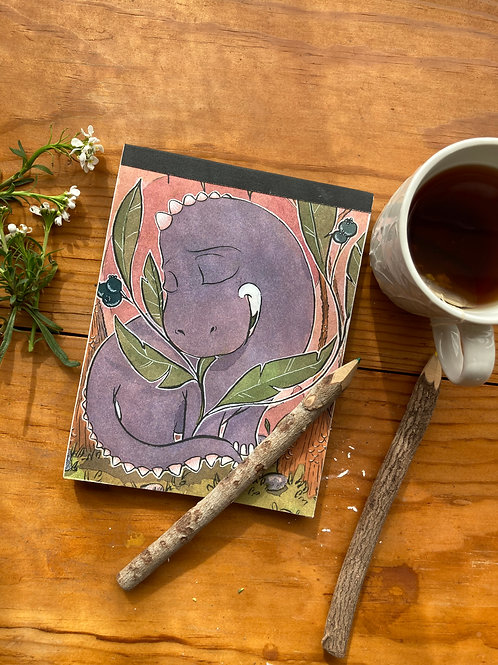 NOTEPAD - BB Dino - 5 x 7, with  24 custom & repurposed tear-away pages