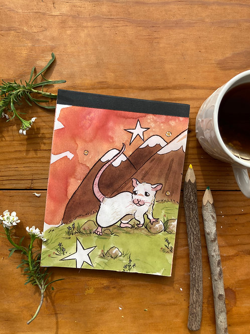 NOTEPAD - Mouse Mountain - 5 x 7, with  28 custom & repurposed tear-away pages