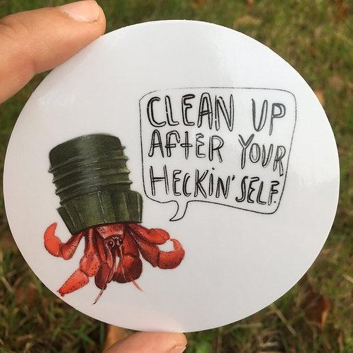 """VINYL STICKER - 3.5"""" - Crabby Hermit Crab"""