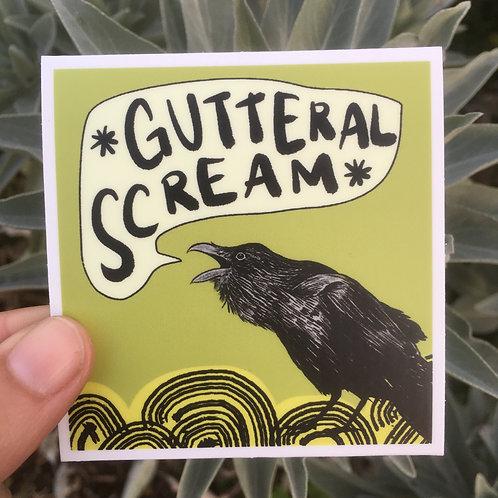 """VINYL STICKER - 3"""" x 3"""" Gutteral Scream Raven"""