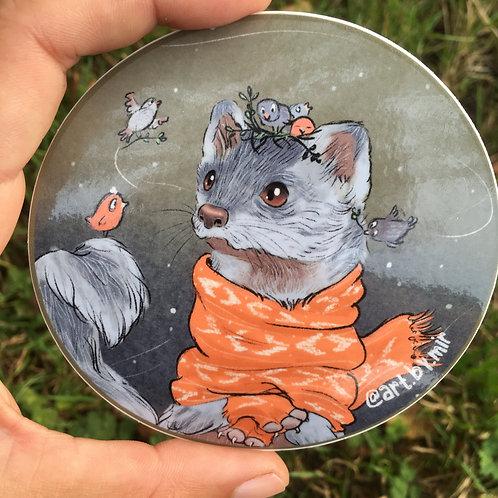 "VINYL STICKER - 3.5"" - Scarved Weasel with Birds"