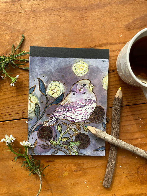 NOTEPAD - Sparrow - 5 x 7, with  28 custom & repurposed tear-away pages