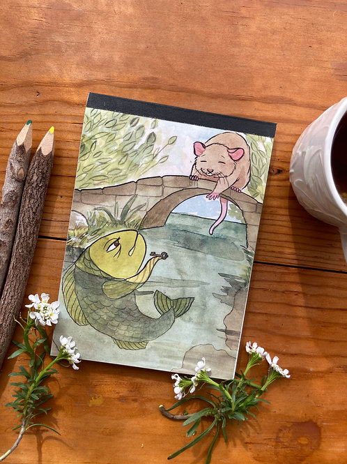 NOTEPAD - Mouse & Fish - 5 x 7, with  28 custom & repurposed tear-away pages