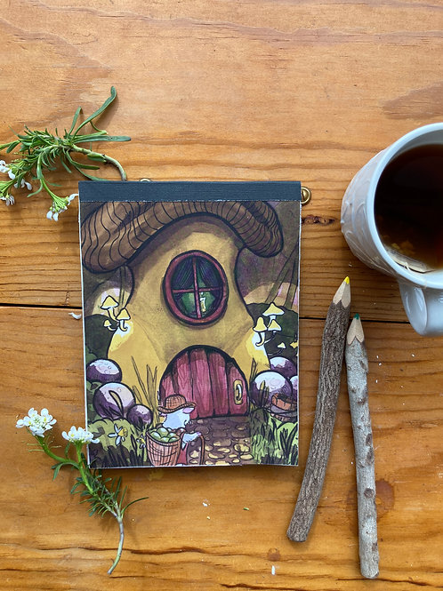 NOTEPAD - Mushroom House - 5 x 7, with  28 custom & repurposed tear-away pages