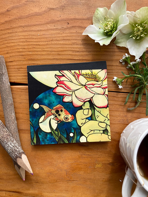 """NOTEPAD - Goldfish & Lotu- 4.25"""" Square notepad with repurposed cardstock inside"""