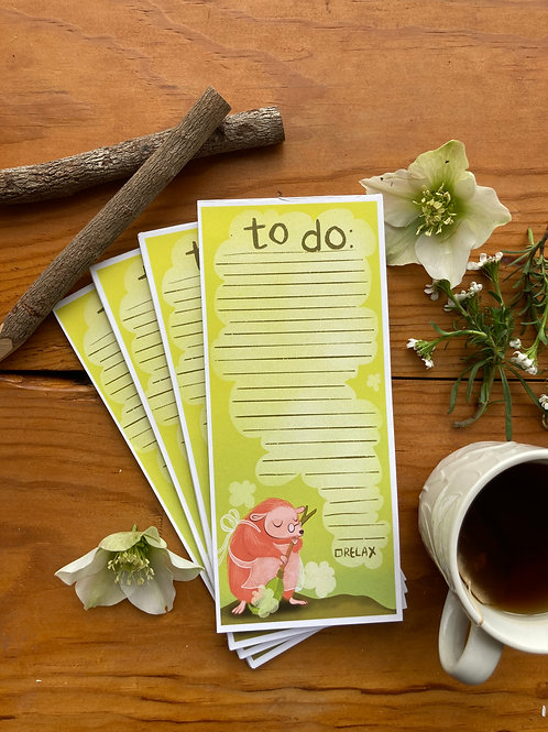 """NOTEPAD - To Do List - 3.5 x 8.5"""" hedgehog notepad, 20 pages"""