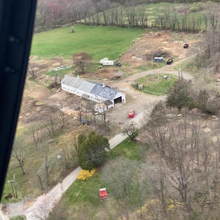 The farm from a helicopter