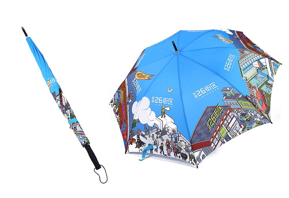 הדפסה על מטריות בשיטת אול אובר הדפסה מלאה מקצה לקצה