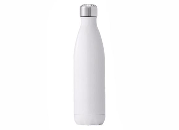 """בקבוק נירוסטה מעוצב בצבע לבן חלק 750 מ""""ל"""