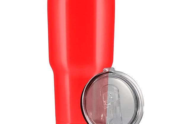 כוס טרמי בצבע אדום עם מכסה וקש