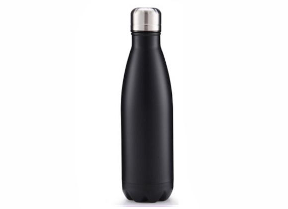 """בקבוק נירוסטה מעוצב בצבע שחור חלק 750 מ""""ל"""