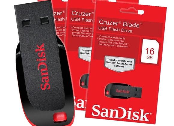 SANDISK Cruzer Blade 16GB זיכרון פלאש סאנדיסק
