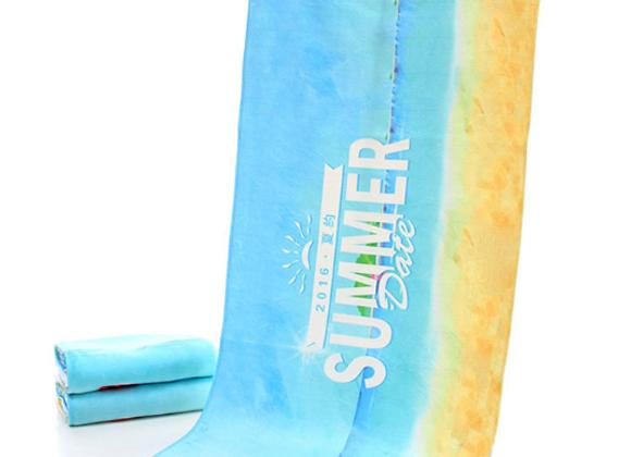 הדפסה צבעונית על מגבת חוף