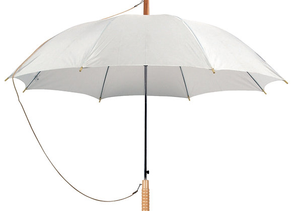 מטריה עם ידית עץ בצבע לבן