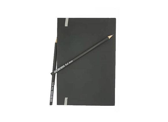 עפרונות ממותגים עם מחברת ממותגת