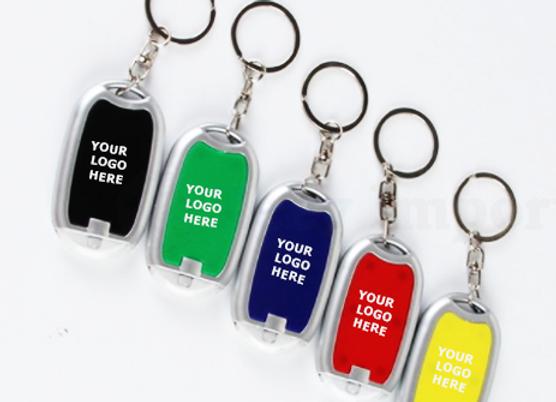 מחזיק מפתחות עם פנס לד שחור עגול לקידום מכירות