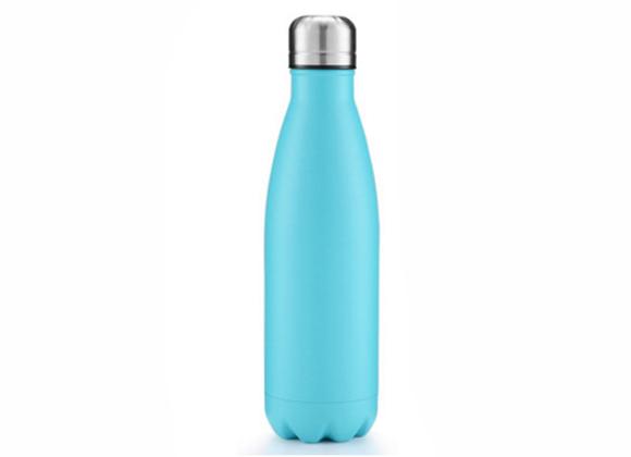 """בקבוק נירוסטה מעוצב בצבע תכלת חלק  750 מ""""ל"""