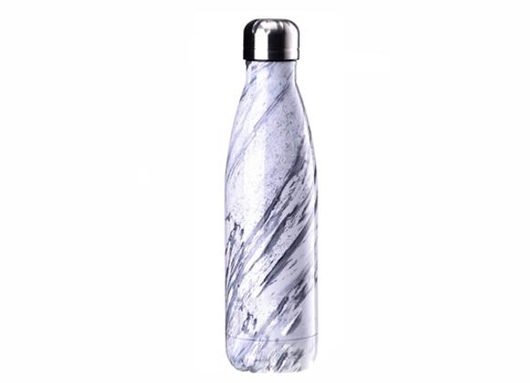 """בקבוק נירוסטה מעוצב שיש אפור מגורען כהה 500 מ""""ל"""