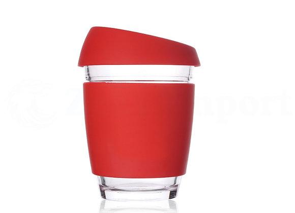כוס זכוכית ממותגת בצבע אדום