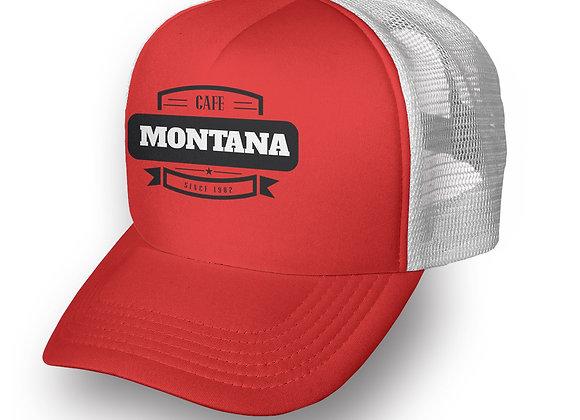 כובע רשת ממותג אדום לבן