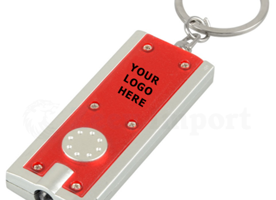 מחזיק מפתחות עם פנס לד שחור מלבני לקידום מכירות