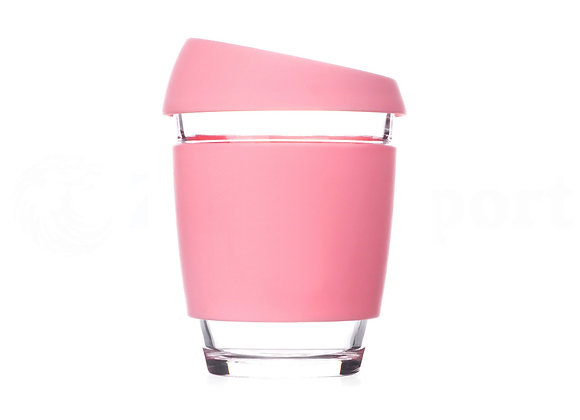 כוס זכוכית דופן כפולה בצבע ורוד