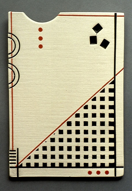 "Porcelain Tile with Impressions and China Paint, 9""x 6.5"", 1991. with Brushwork, 11"", 1976."