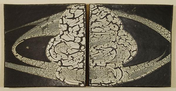 Bob Sperry, 1978. White slip over black glaze.