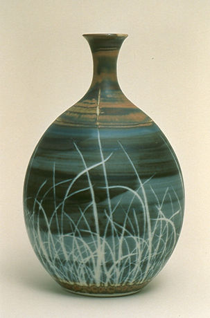 "Porcelain Vase with wax resist Decoration, 14"", 1986."
