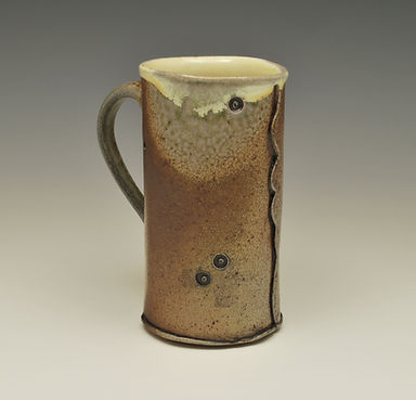 "8) Soda Fired Handbuilt Mug, 7"" tall, stoneware."