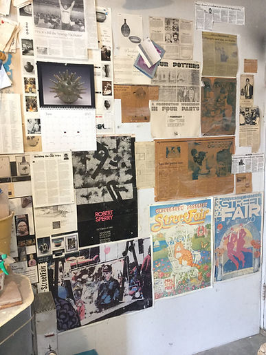 Wall of clippings in my throwing space.