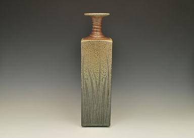 """11) Soda Fired Slab Vase, 14"""" tall, stoneware."""
